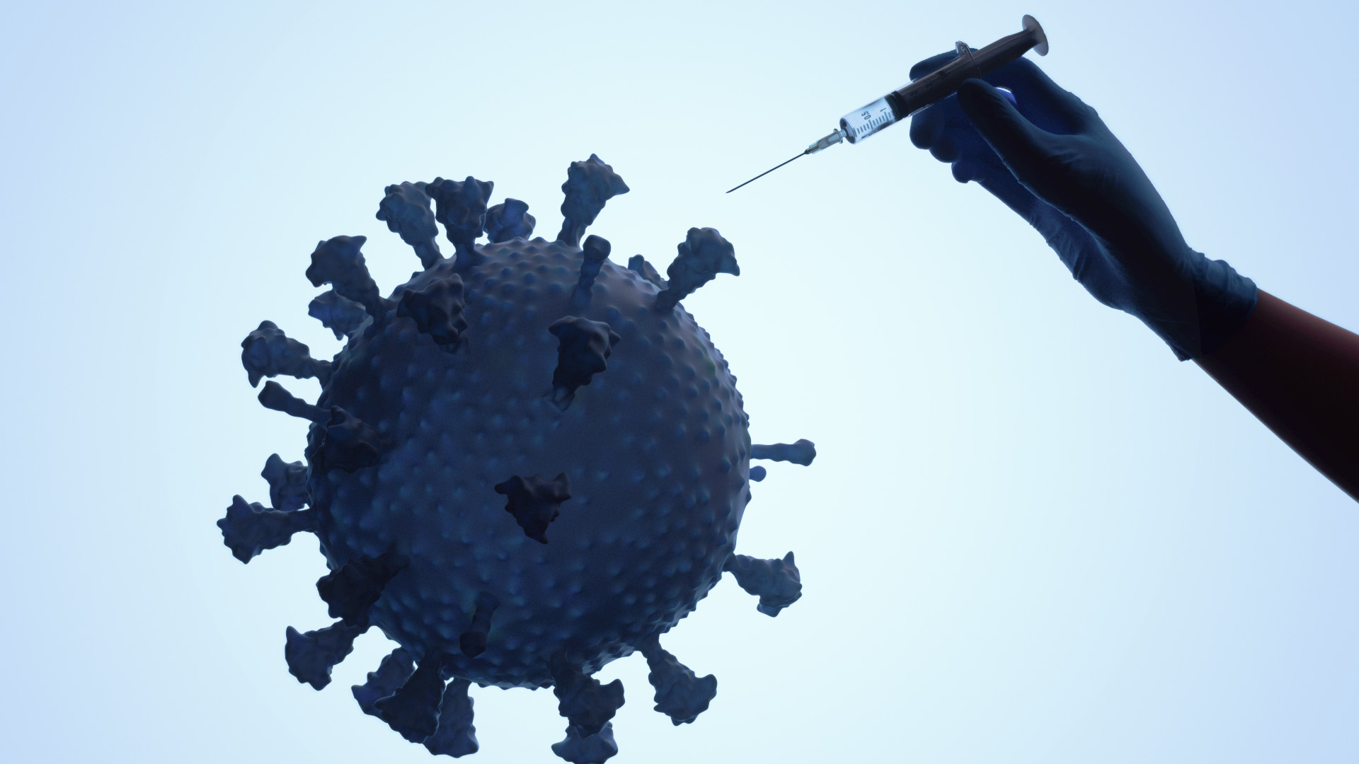 3D animation of SARS-CoV-2 as a balloon getting popped by a glove hand holding a syringe
